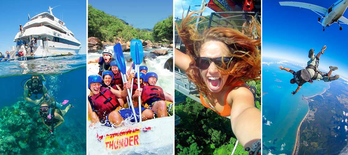 Cairns Reef, Rafting, Skydive & Bungy 3 Day Package