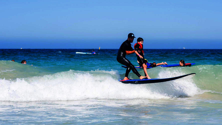 Surfing at Brighton Beach